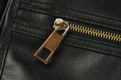 Zipper on leather stock image