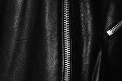 Zipper. A zipper of a leather jacket Stock Images