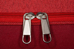 Zipper of luggage bag, close-up Royalty Free Stock Photo