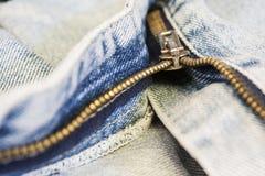 Zipper na calças de ganga Fotos de Stock