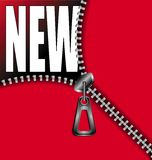 Zipper new. Realistic zipper revealing the word new Royalty Free Stock Photography