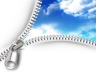 Zipper opening skies Stock Photo