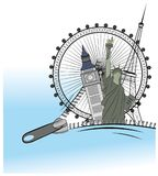 Zipper opens the show attractions around the world. the concept of traveling. vector illustration.  Stock Photography