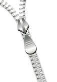 Zipper over white Royalty Free Stock Photos