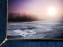 Zipper overlooks the frozen lake Royalty Free Stock Images