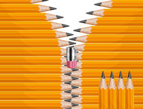 Zipper pencils Stock Photography