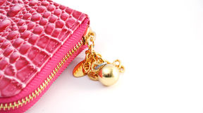 Zipper of Pink woman purse. Pic of pink woman purse Royalty Free Stock Images