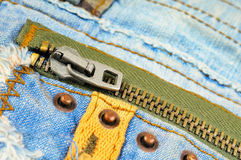 Zipper on the pocket of jeans Royalty Free Stock Photography