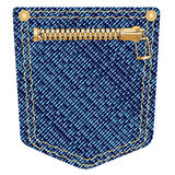 Zipper Pocket. A plain blue denim pocket with copper studs and a zipper over a white background Royalty Free Stock Image