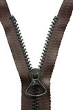 Zipper preto Unzipped do metal Foto de Stock