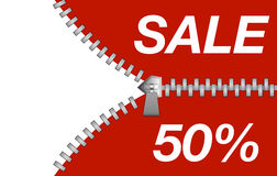 Zipper revealing a discount for sale purposes Royalty Free Stock Photos