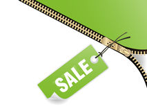 Zipper and sale tag Royalty Free Stock Photo