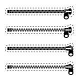 Zipper schwarze Symbole Stockfoto
