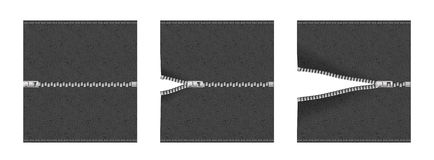 Zipper sequence on fabric Stock Photography