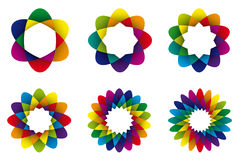 Abstract rainbow flower collection Stock Images