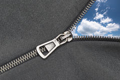Zipper and the sky Royalty Free Stock Photography