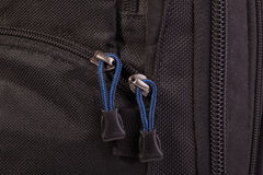 Zipper slider. Several buckles zipper and two zipper slider with blue laces Stock Images