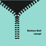 Zipper symbol and handshake businessman agreement on background. Stock Images