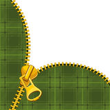Zipper on tartan background Stock Photos