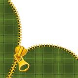 Zipper on tartan background Stock Photos