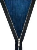 Zipper a textura unzipped das calças de brim Imagens de Stock Royalty Free