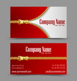 Zipper theme business card. Front and back side of zipper theme business card isolated on grey background Stock Image