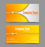 Zipper theme business card Royalty Free Stock Image