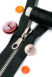 Zipper, thread and button Royalty Free Stock Photo