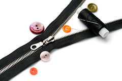 Zipper, thread and button Royalty Free Stock Image