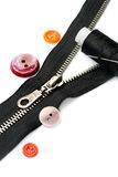 Zipper, thread and button Royalty Free Stock Images