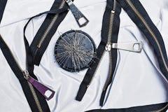 Zipper, thread, sewing needles, needlework. Stock Image