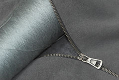 Zipper thread and textile Stock Photo