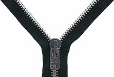 Zipper Unzipped do metal Fotos de Stock Royalty Free