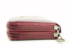Zipper of wallet. Zipper of brown leather wallet Royalty Free Stock Images