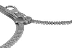 Zipper on white background. Isolated 3D image Stock Image