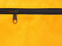 Zipper on yellow bag Stock Images
