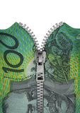 Zippered Australian hundred dollar note Royalty Free Stock Image