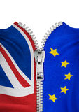 Zippered Brexit flags. 3D illustration of zipper splitting UK and EU flags Stock Photography