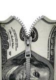 Zippered cientos billetes de dólar Fotografía de archivo