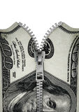 Zippered honderd dollarsrekening Stock Fotografie