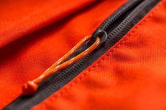 Zippered red bag pocket. Close up Stock Image