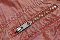 Zippered Red Leather Pocket Close-up Royalty Free Stock Photography