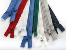 Zippers. For clothing on white background Royalty Free Stock Image