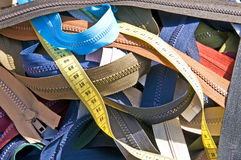 Zippers on a market Stock Images