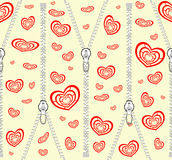 Zippers and red hearts Stock Photo