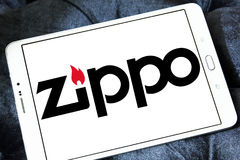 Zippo company logo. Logo of zippo company on samsung tablet. A Zippo lighter is a reusable metal lighter manufactured by American Zippo Manufacturing Company Royalty Free Stock Photos