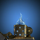 Zippo Lighter. Picture of zippo lighter with water Royalty Free Stock Photography