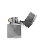 Zippo open. Revealling smooth metallic gasoline cigarette-lighter zippo Royalty Free Stock Photo