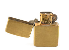 Zippo. A vintage zippo lighter opened isolated on white Royalty Free Stock Photo
