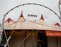 Zippos马戏场帐篷 库存图片